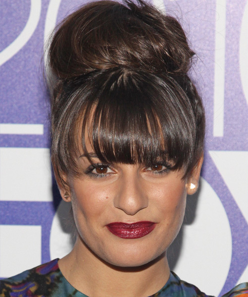 Lea Michele Curly Casual Updo Hairstyle