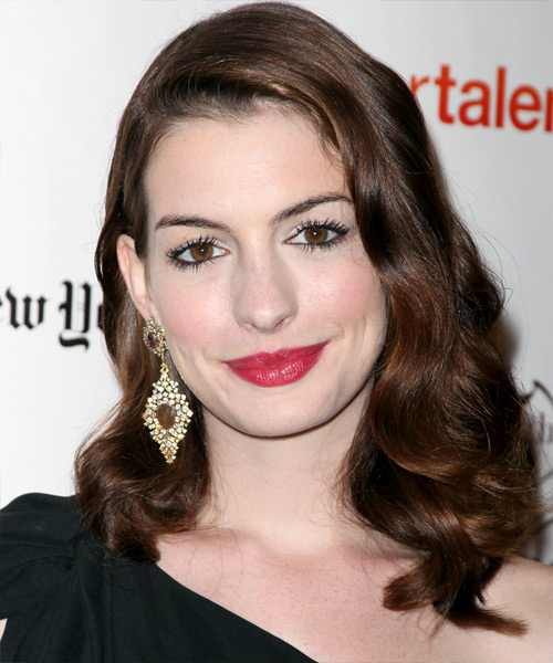 Anne Hathaway Long Wavy Hairstyle - Dark Brunette