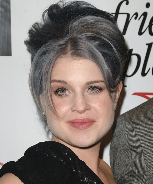 Kelly Osbourne Updo Long Straight Casual  - Dark Grey
