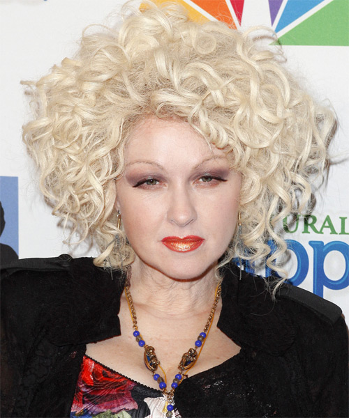 Cyndi Lauper Medium Curly Hairstyle