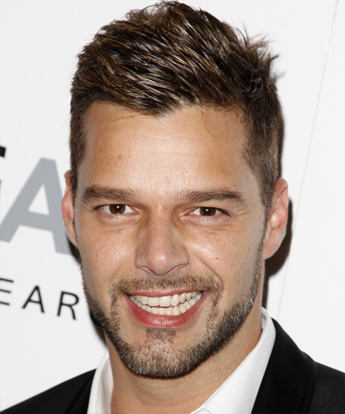 Ricky Martin Short Straight Hairstyle - Dark Brunette