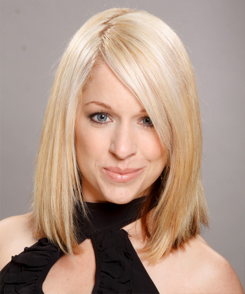 Medium Straight Formal Hairstyle - Light Blonde Hair Color