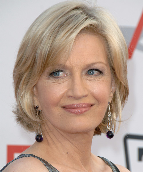 Diane Sawyer Medium Straight Hairstyle