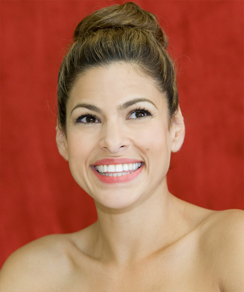Eva Mendes Curly Casual Updo Hairstyle