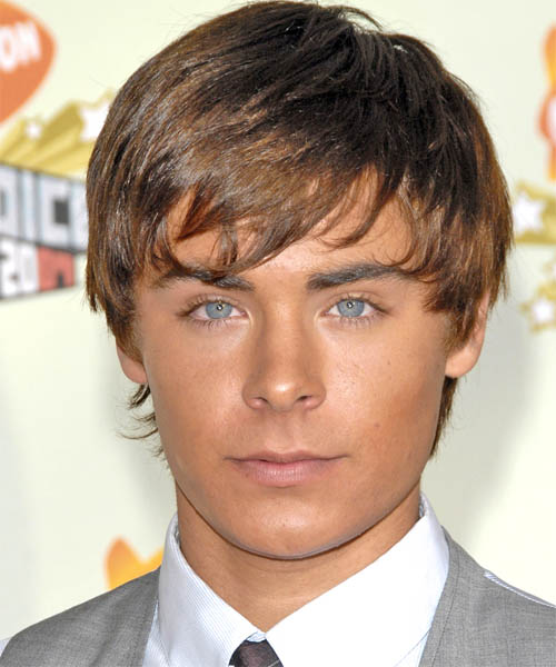Zac Efron Short Straight Hairstyle - Medium Brunette (Caramel)