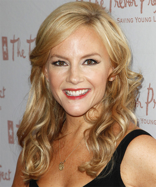 Rachael Harris Curly Casual Half Up Hairstyle