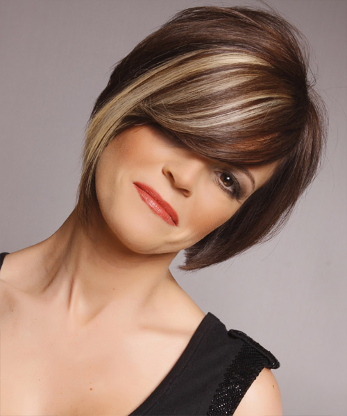 Medium Straight Formal Hairstyle with Side Swept Bangs - Dark Brunette (Mocha) Hair Color