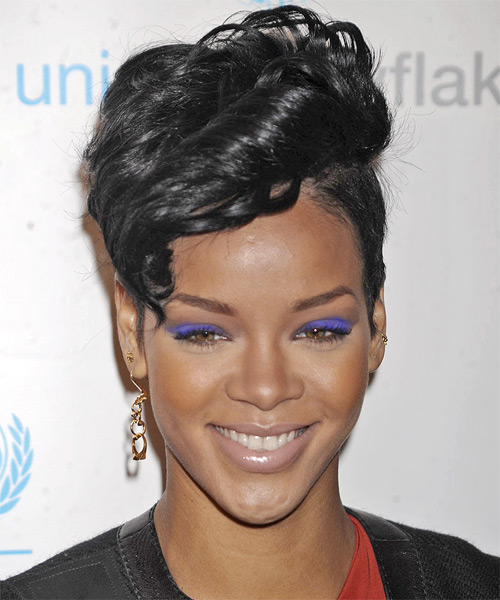 Rihanna Short Wavy Alternative Undercut Hairstyle - Black Hair Color