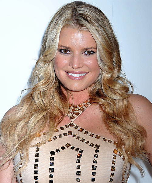Jessica Simpson Long Wavy Formal Hairstyle - Dark Blonde (Honey) Hair Color