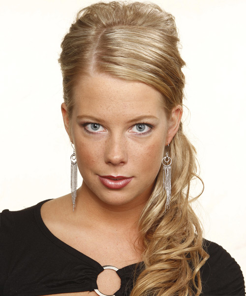 Curly Formal Updo Hairstyle - Medium Blonde (Champagne) Hair Color
