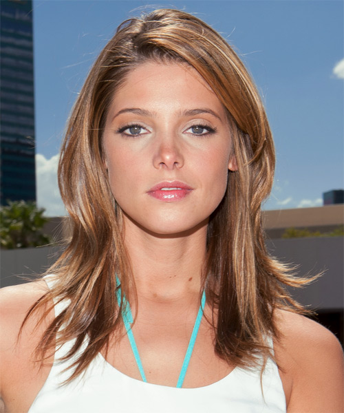 Ashley Greene Long Straight Casual Hairstyle - Light Brunette (Caramel) Hair Color