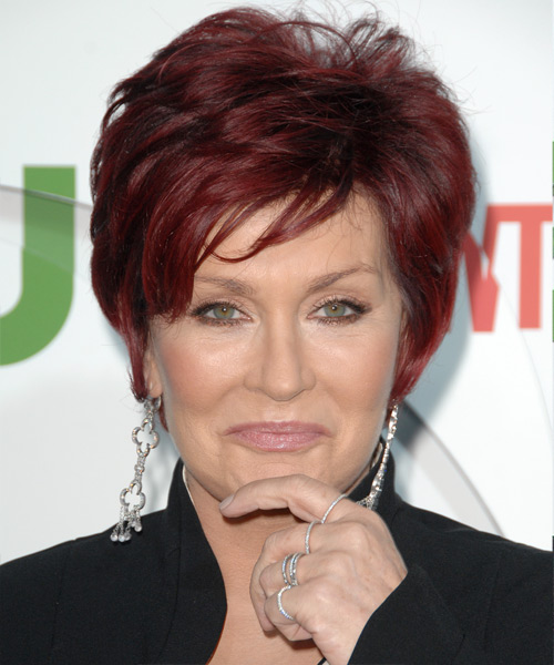 Sharon Osbourne Short Straight Hairstyle - Light Red