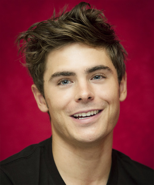 Zac Efron Short Straight Casual Hairstyle - Medium Brunette (Ash) Hair Color