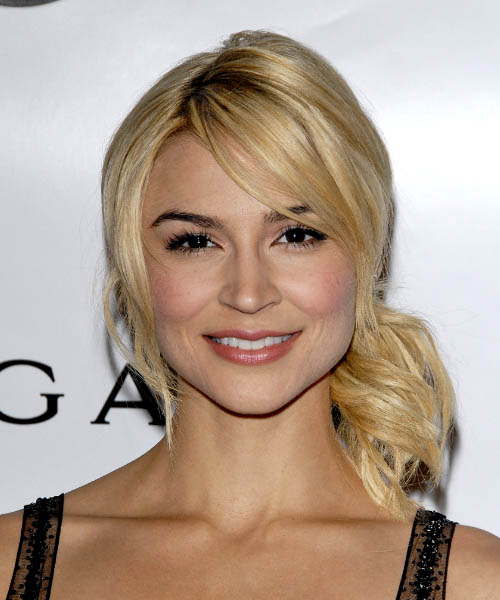 Samaire Armstrong Half Up Long Straight Casual Half Up Hairstyle