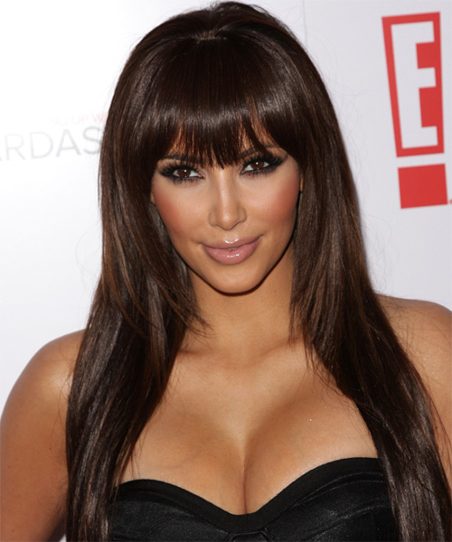 Kim Kardashian Long Straight Formal Hairstyle with Layered Bangs - Medium Brunette (Chocolate) Hair Color