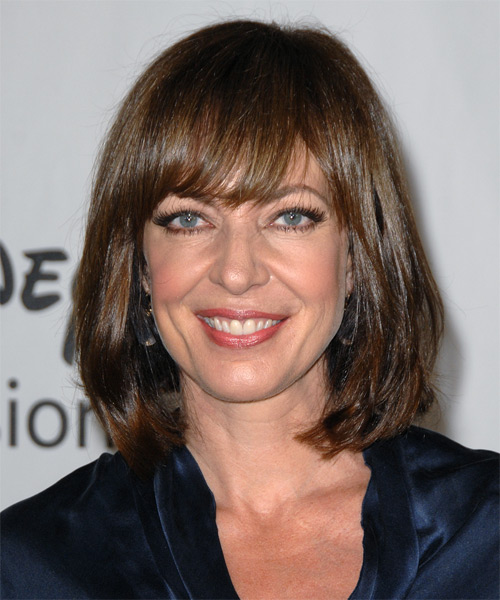 Allison Janney Medium Straight Casual Hairstyle with Blunt Cut Bangs - Medium Brunette Hair Color