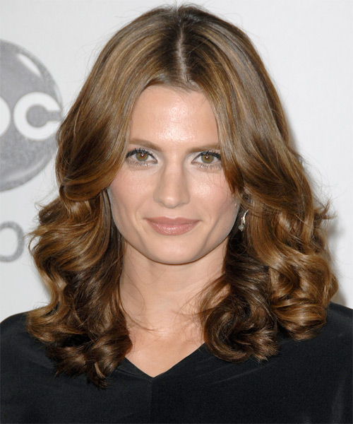 Stana Katic Medium Wavy Formal Hairstyle - Medium Brunette (Chestnut) Hair Color