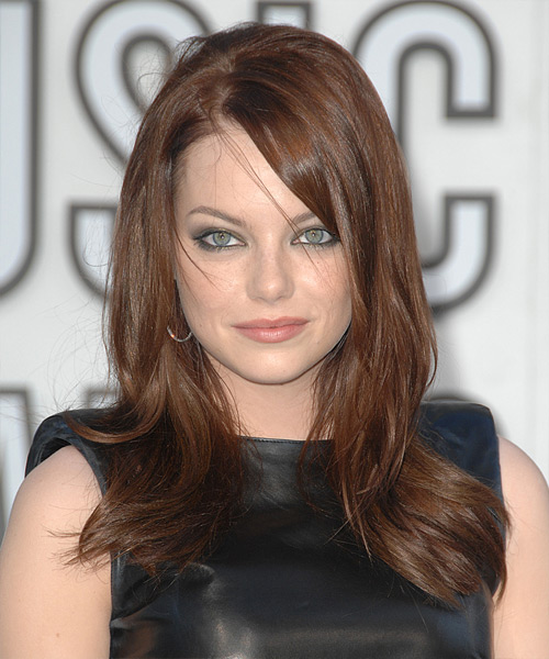 Emma Stone Long Straight Casual Hairstyle with Side Swept Bangs - Medium Brunette (Chestnut) Hair Color