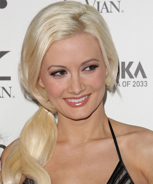 Holly Madison - Casual Half Up Long Straight Hairstyle