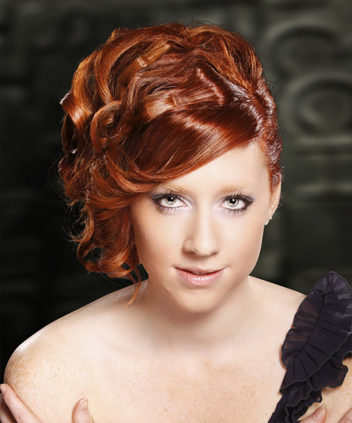 Formal Curly Updo Hairstyle - Medium Red (Burgundy)