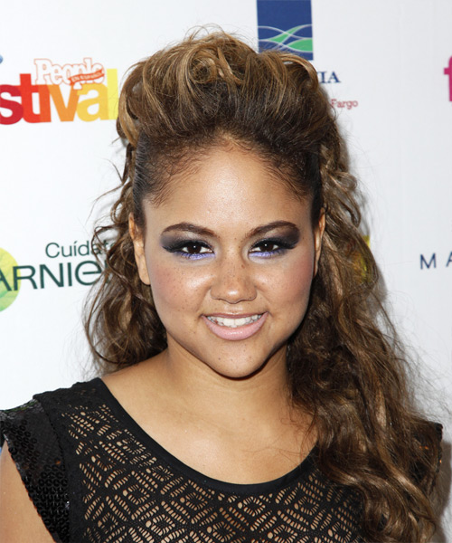 Kat DeLuna Half Up Long Curly Hairstyle