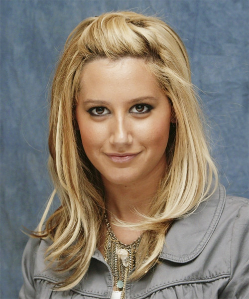 Ashley Tisdale Long Straight Casual Hairstyle - Medium Blonde (Honey) Hair Color