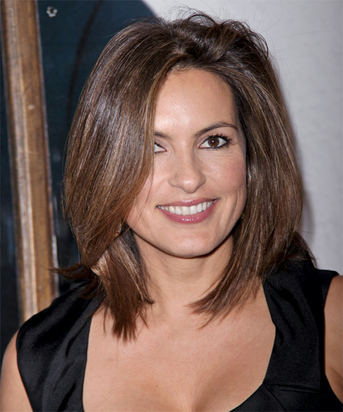 Mariska Hargitay Medium Straight Hairstyle - Medium Brunette (Chocolate)