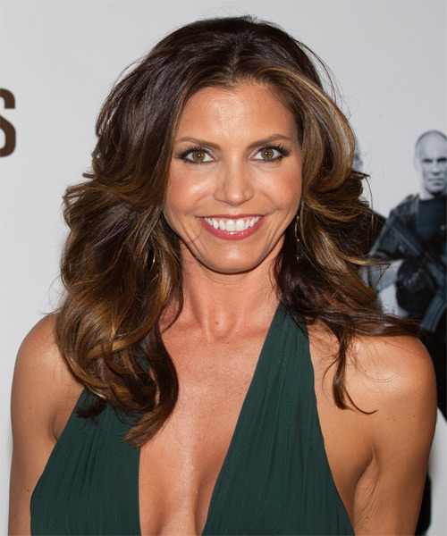 Charisma Carpenter Long Wavy Hairstyle - Medium Brunette