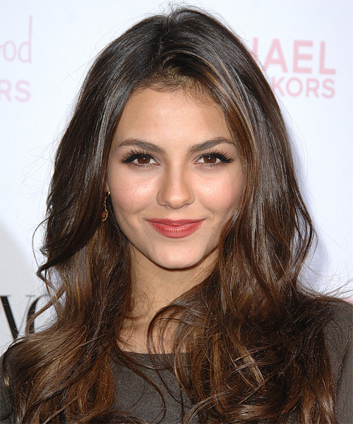 Victoria Justice Long Straight Casual Hairstyle - Medium Brunette Hair Color