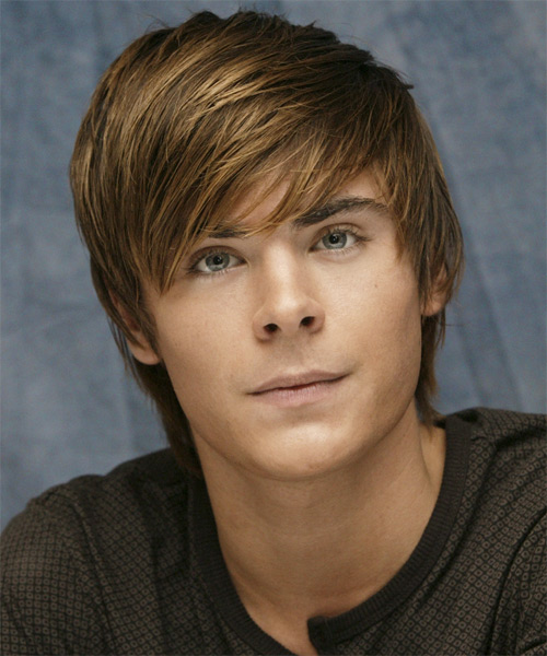 Zac Efron Medium Straight Hairstyle - Medium Brunette (Caramel)