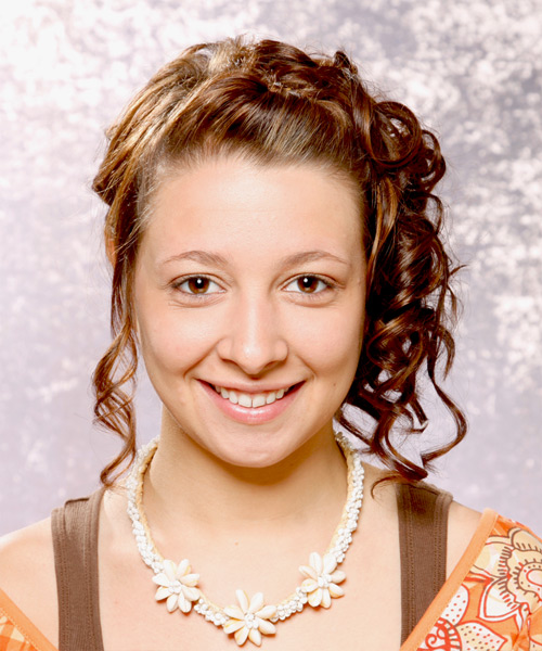 Formal Curly Updo Hairstyle - Medium Brunette (Chestnut)