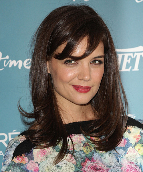 Katie Holmes Medium Straight Casual  with Side Swept Bangs