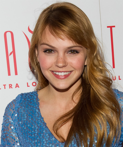 Aimee Teegarden Long Wavy Hairstyle - Medium Blonde (Copper)
