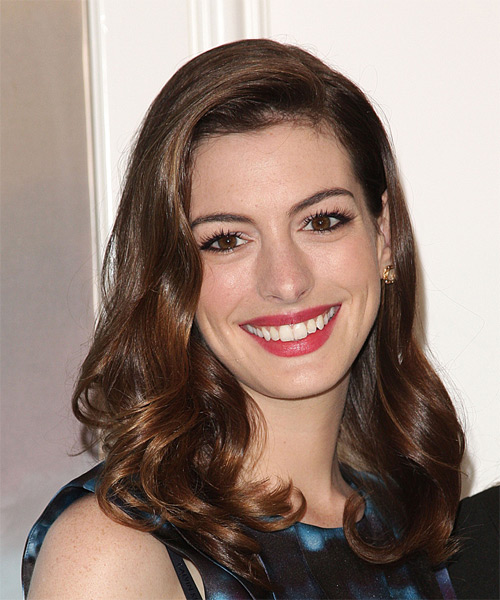 Anne Hathaway Long Wavy Formal Hairstyle