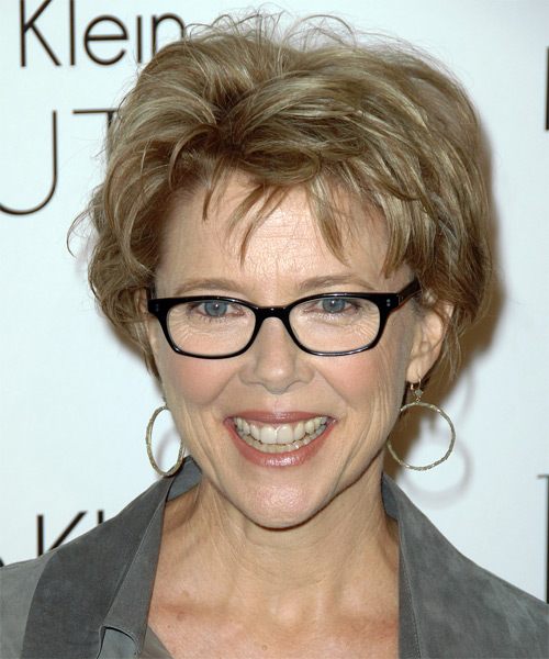Annette Bening hairstyle with glasses