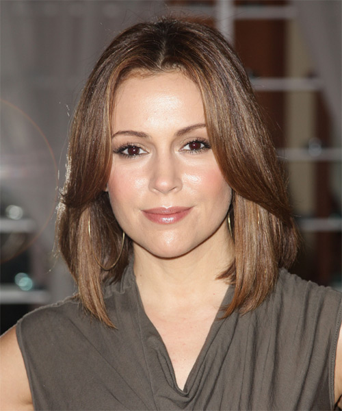 Alyssa Milano Medium Straight Hairstyle - Medium Brunette (Chestnut)
