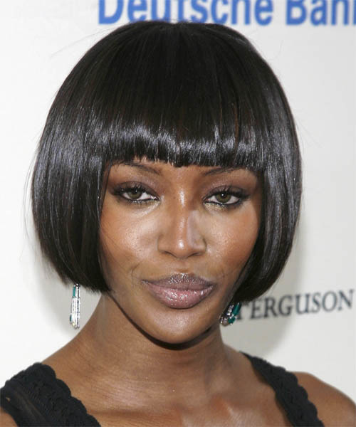 Naomi Campbell Short Straight Bob Hairstyle