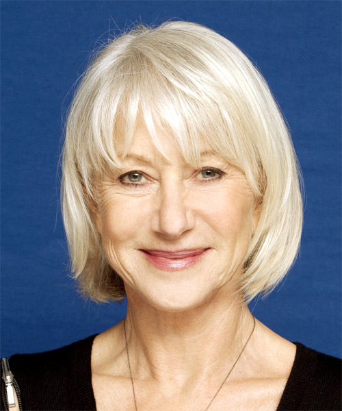 Helen Mirren Medium Straight Hairstyle - Light Blonde (Platinum)
