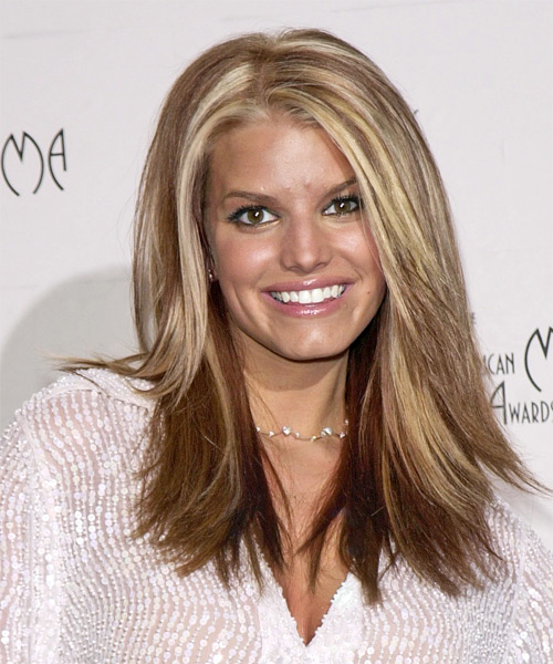 Jessica Simpson Long Straight Casual Hairstyle - Light Brunette (Chestnut) Hair Color