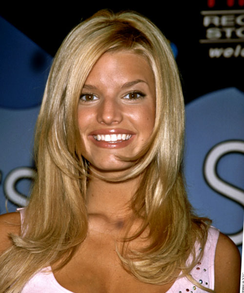 Jessica Simpson Long Straight Casual Hairstyle - Medium Blonde (Honey) Hair Color