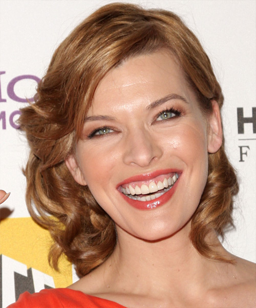 Milla Jovovich Updo Medium Curly Formal Updo Hairstyle