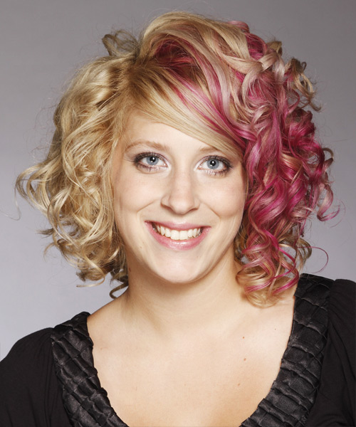 Medium Curly Formal Hairstyle with Side Swept Bangs - Light Blonde (Strawberry) Hair Color