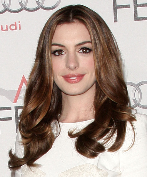 Anne Hathaway Long Wavy Formal Hairstyle - Medium Brunette Hair Color