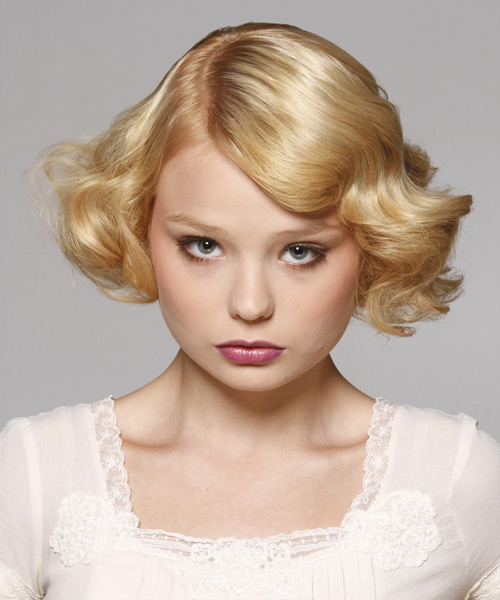 Short Wavy Formal Bob Hairstyle - Light Blonde (Golden) Hair Color