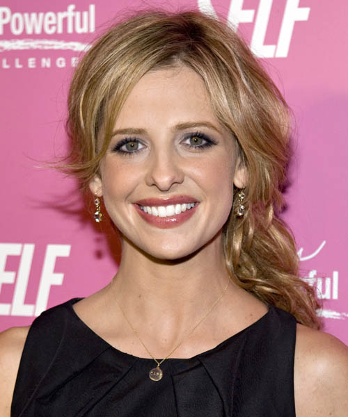 Sarah Michelle Gellar Updo Long Curly Casual Half Up Hairstyle