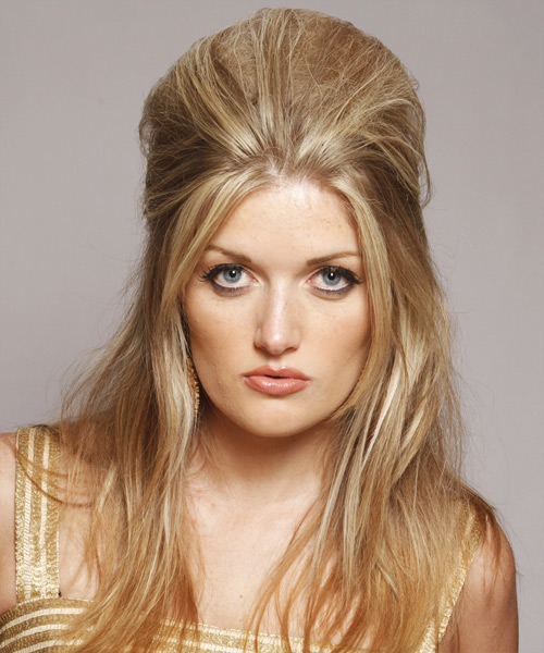 Straight Casual Half Up Hairstyle - Medium Blonde (Golden) Hair Color