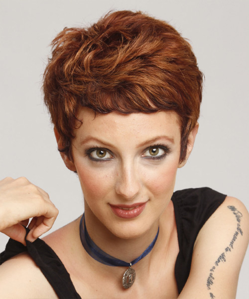 Short Straight Casual Pixie Hairstyle - Medium Brunette (Auburn) Hair Color