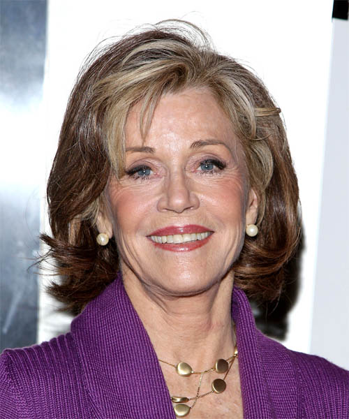 Jane Fonda Medium Wavy Hairstyle