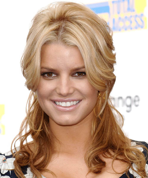 Jessica Simpson Curly Casual Half Up Hairstyle