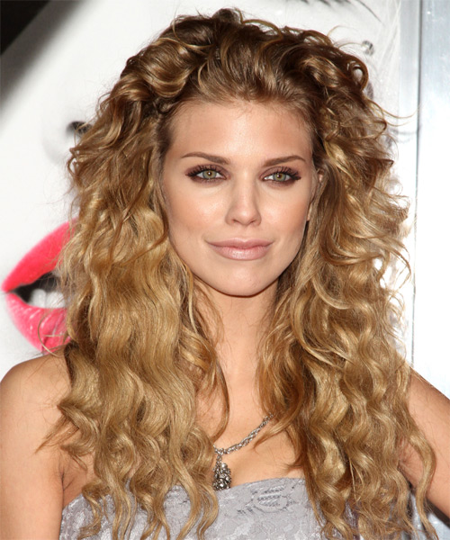 AnnaLynne McCord Long Curly Casual Hairstyle - Medium Blonde (Golden) Hair Color
